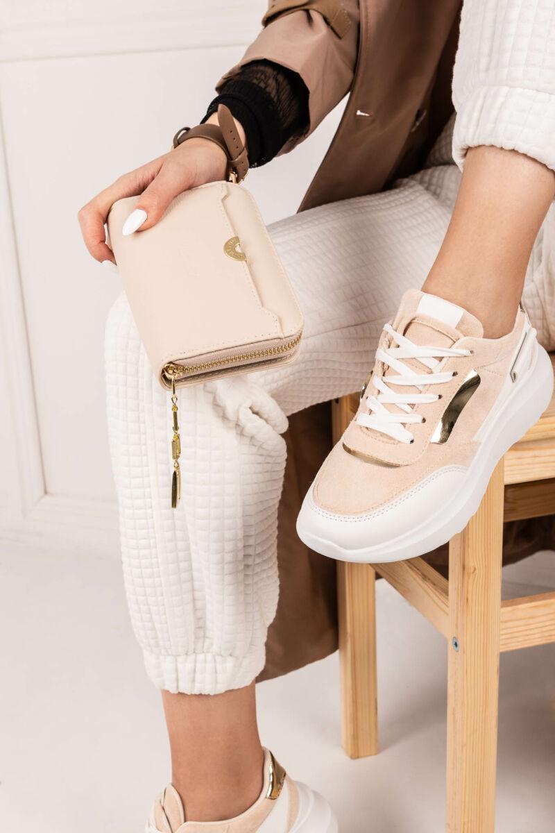 Bézs Arany Női Sneaker Sarokmagasítással