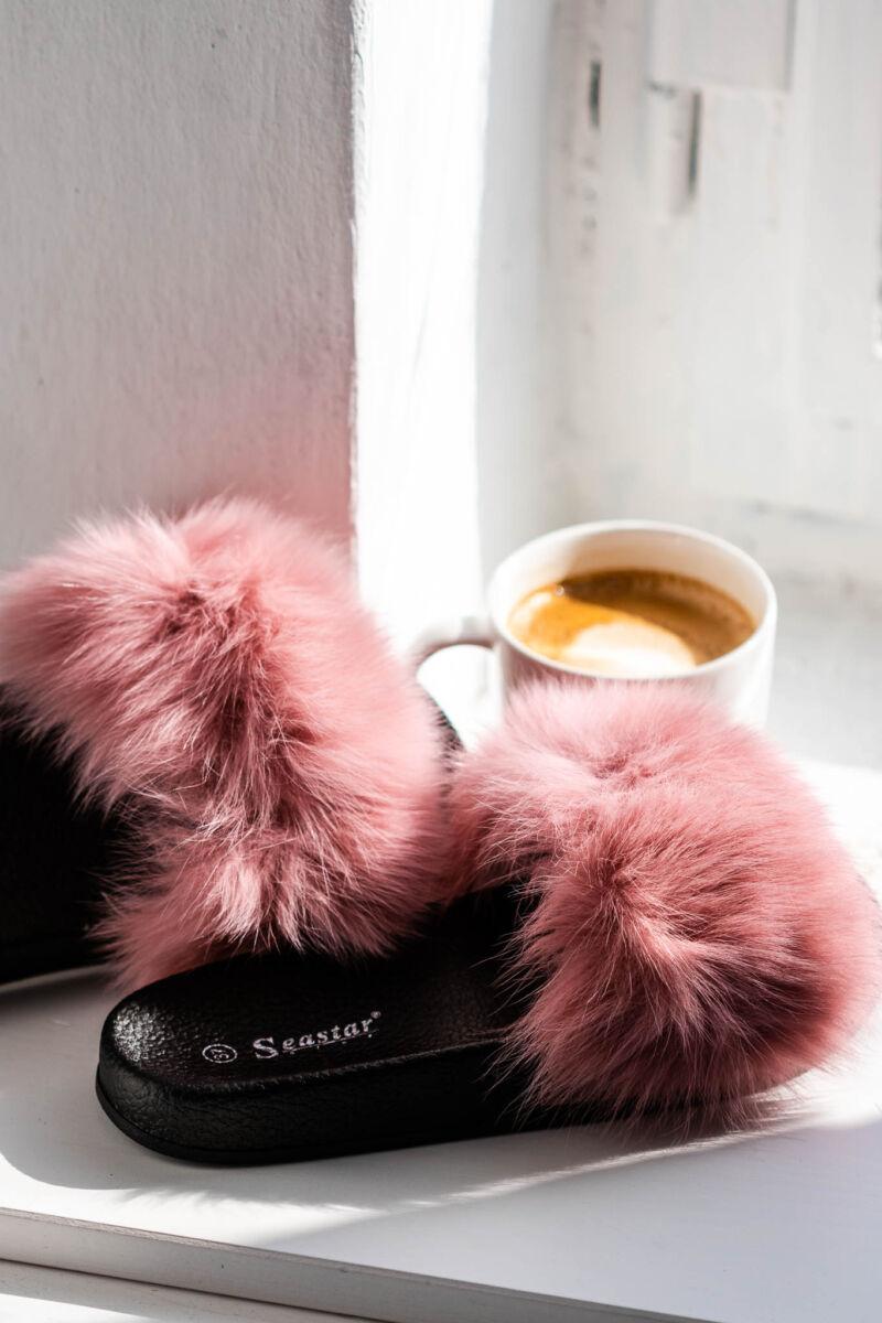 Rózsaszín Színű Pihe-puha Szőrmés Nyitott Papucs