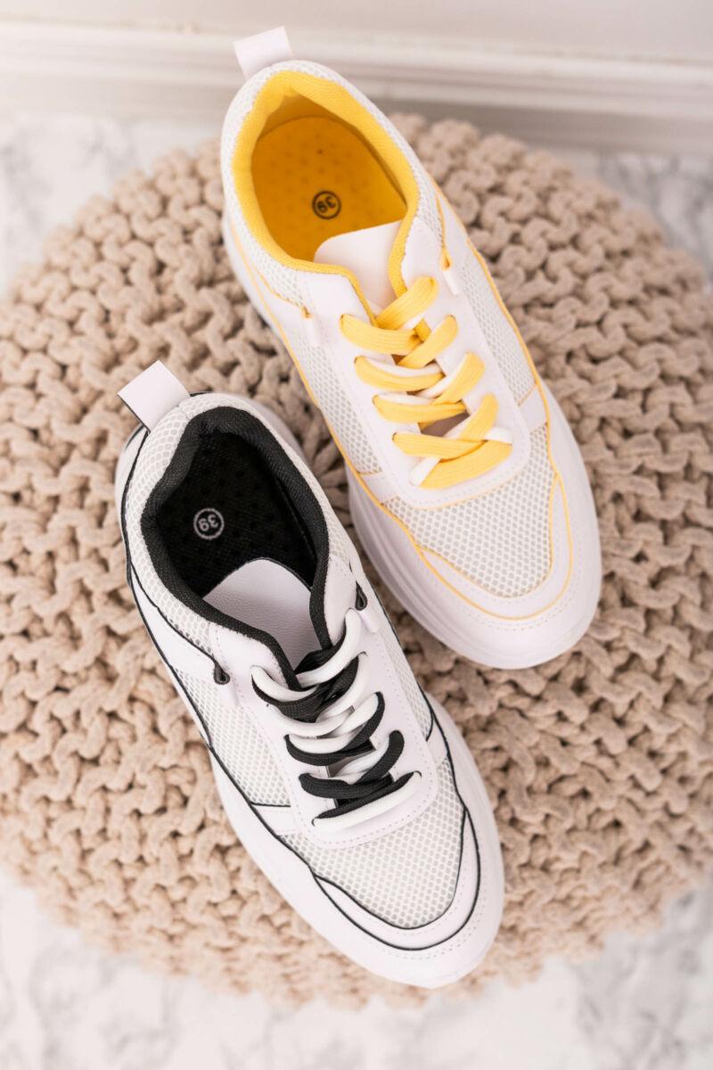 Fehér-sárga magasított sarkú dupla fűzős utcai cipő