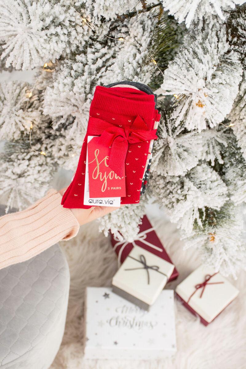 Aura Via Karácsonyi Mintás Zokni Szett