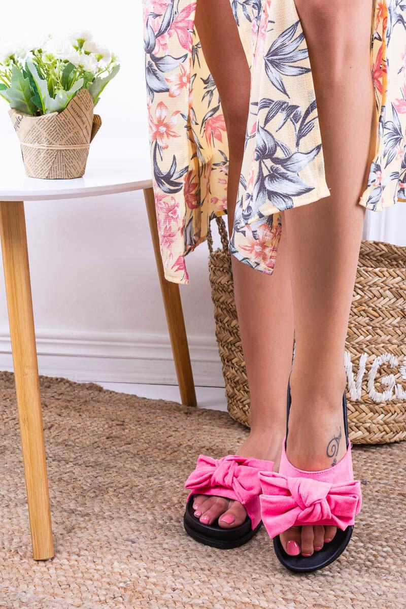 Női Pink Szintetikus Masnis Papucs
