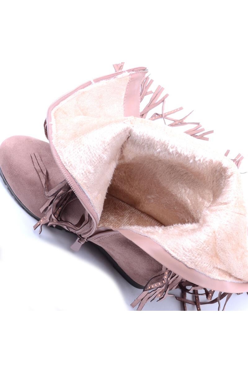 Női Rózsaszín  Rojtos Művelúr Csizma