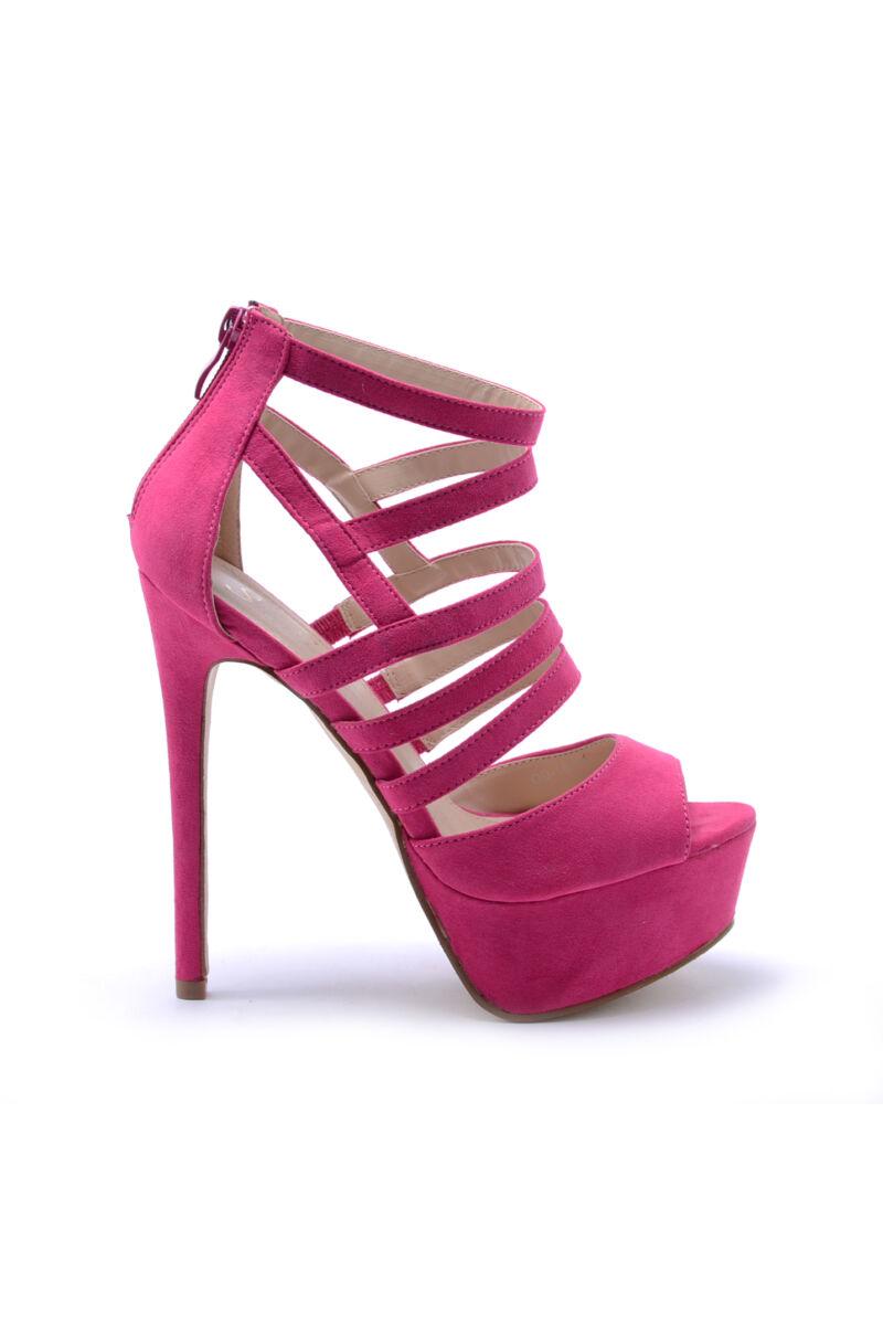Női Pink Színű Művelúr Tűsarkú