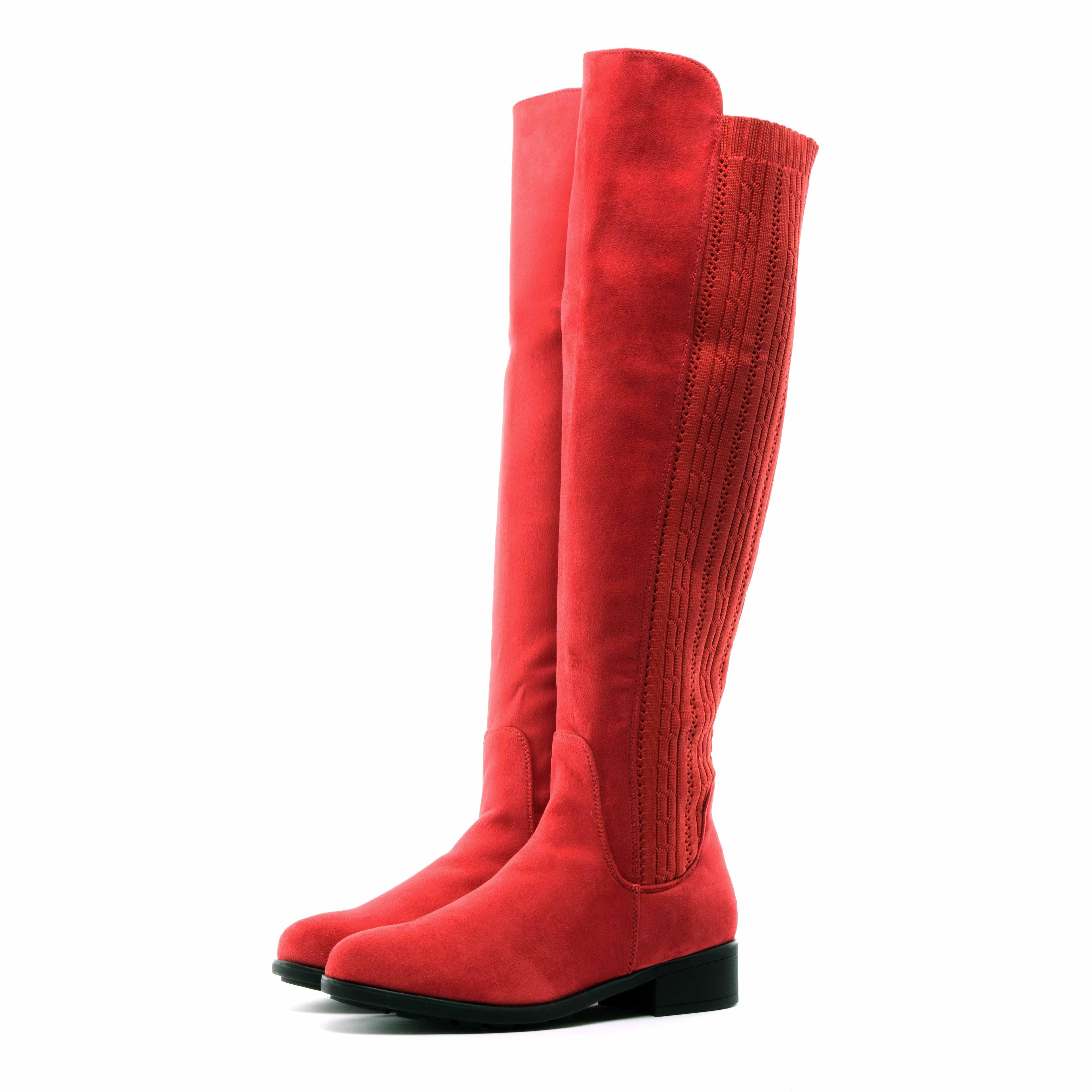 Női Piros Művelúr Hosszúszárú Csizma - MAGASSZÁRÚ CSIZMÁK - Női cipő  webáruház-női csizmák 58e1676983