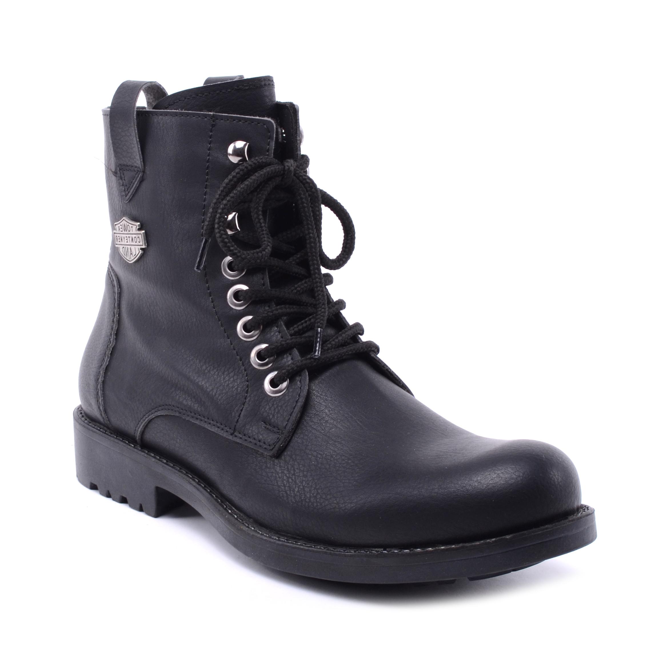 Férfi Műbőr Bakancs Fekete - FÉRFI BAKANCSOK - Női cipő webáruház-női  csizmák 340b1cdcad