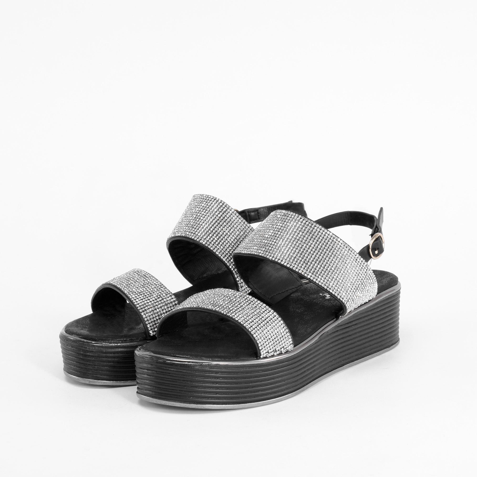Fehér Női Strasszköves Magas Talpú Szandál - Szandál - Női cipő webáruház-női  csizmák efc9fe741e