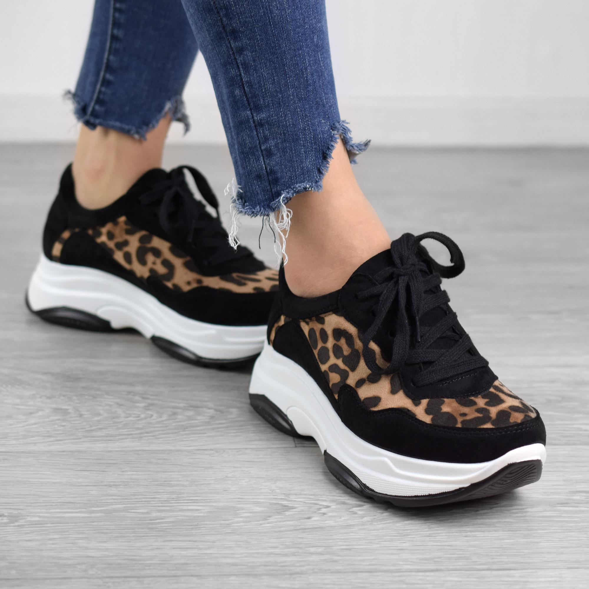 Fekete Leopárd Mintás Női Művelúr Magastalpú Félcipő - MAGAS TALPÚ - Női  cipő webáruház-női csizmák 530fb7d053